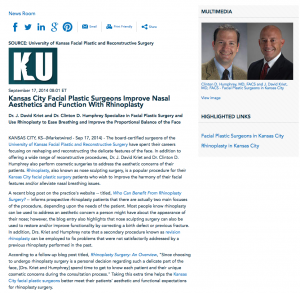 University of Kansas Facial Plastic and Reconstructive Surgery, rhinoplasty, Kansas City facial plastic surgery, revision rhinoplasty, Kansas City facial plastic surgeons, Dr. Kriet, Dr. Humphrey