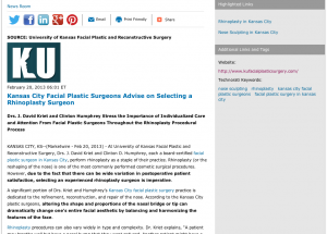 Facial Plastic Surgeons in Kansas City on How to Select a Rhinoplasty Surgeon